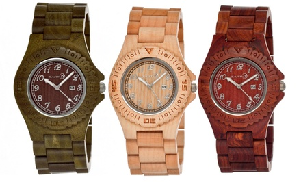 Earth Wooden Watches for Men in Culm, Phloem, or Testa in Brown, Dark Brown, Khaki/Tan, or Olive