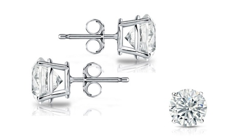 1/2 CTW Round Diamond Solitaire Earrings in Sterling Silver