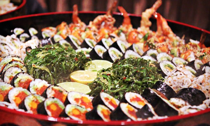 Sushi or party tray aji japanese restaurant groupon for Aji 53 japanese cuisine
