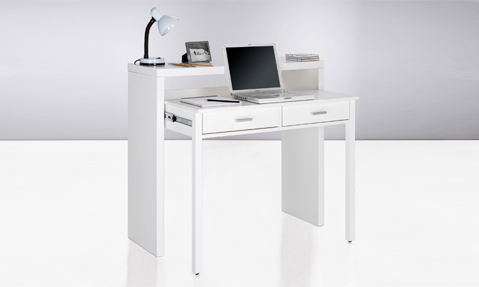 Bureau extensible 2 en 1 groupon shopping for Console bureau blanc