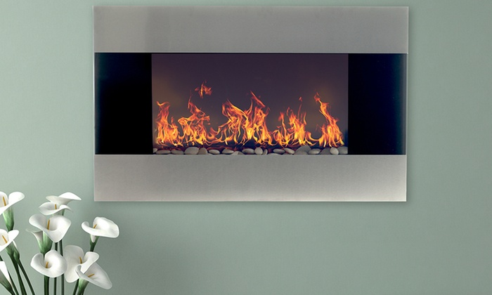 Northwest 36 Stainless Steel Electric Fireplace With Wall Mount Groupon