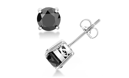 3/4-CTTW Black Diamond Stud Earrings - By Femme Luxe