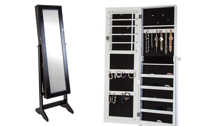 miroir sur pied avec armoire bijoux int gr e groupon. Black Bedroom Furniture Sets. Home Design Ideas
