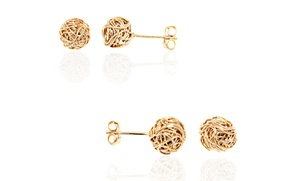 18k Gold Plated Woven Cable Knot Stud Earrings
