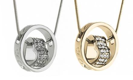 Swarovski Elements Heart-in-Circle Pendant Necklaces