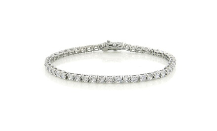 18K White-Gold-Plated Tennis Bracelet with Round Cubic Zirconia Bezel-Set Crystals