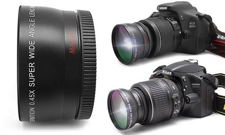 Lente grande angular e macro para objetivas Canon de 58 mm ou Nikon de 52 mm por 34,90€