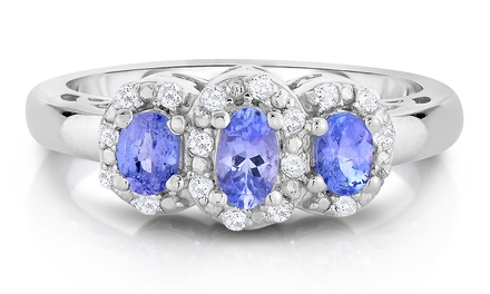 Tanzanite and Diamond Three-Stone Ring in Sterling Silver
