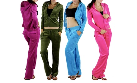 Women's Velour Tracksuit Zip-Up Hooded Jacket and Matching Pants