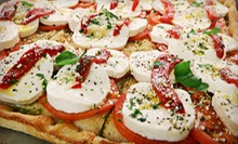 Italian Meal with Salad, Pizza, and Wine for Two or Four at Delicacies Gourmet Pizza (Up to 58% Off)