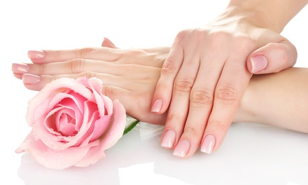 Full Acrylic or Pink and White Manicure at Happy Feet – Massage, Nail & Skincare (Up to 44% Off)