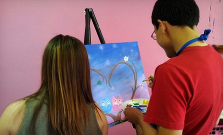 Three-Hour BYOB Painting Class for One, Two, or Four at Pink Elephant Art Studio (Up to 54% Off)