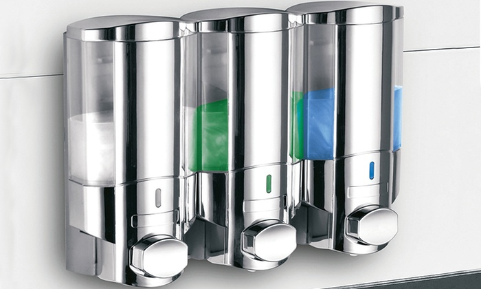Hotelspa wall mounted soap and shampoo dispensers groupon - Wall mounted shampoo and conditioner dispenser ...