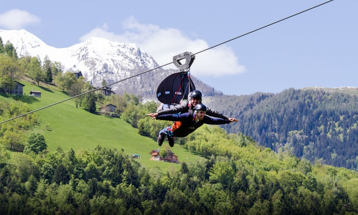 Fly Emotion - Fly Emotion: Fly Emotion - Traversata andata e ritorno su fune in volo sulla Valtellina a 300 metri di altezza