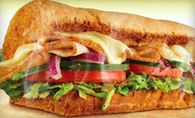 Sandwiches, Chips, and Drinks at Subway (Half Off). Three Options Available.