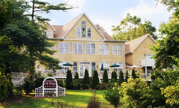 TripAlertz wants you to check out 1- or 2-Night Stay for Two in a Suite or Standard or Whirlpool Room at Elk Forge Bed & Breakfast in Elkton, MD Romantic B&B on 5 Private Acres in Maryland - Secluded Maryland B&B