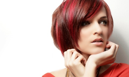 Haircut and Blow-Dry with Optional All-Over Color or Full Highlights at Hair & Now Salon (Up to 54% Off)