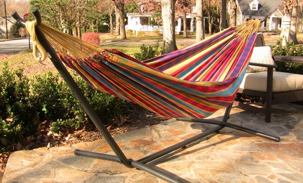 Vivere 8ft. Combo Double Hammock with Stand. Four Colors Available.