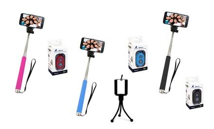 Bluetooth Smartphone-Camera Remote, Tripod, and Selfie Monopod
