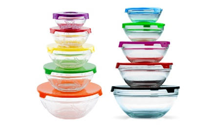5-Piece Glass Nesting Bowls with Lids