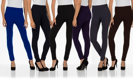 Six-Pack of Seamless Fleece-Lined Leggings