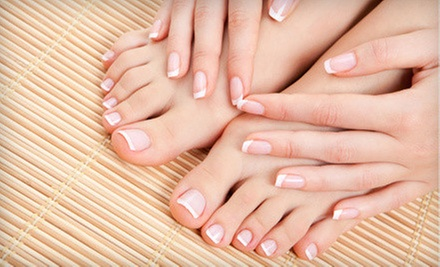 Deluxe Spa Manicure, Pedicure, or Both with Shellac at Hello Gorgeous Salon and Spa (Up to 55% Off)