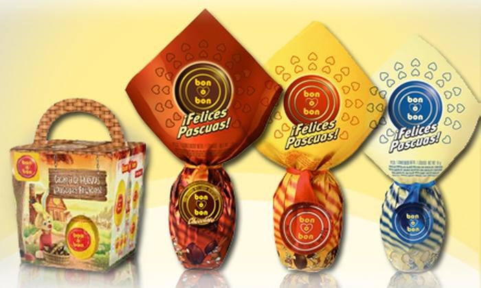 Groupon Pick Up - Múltiples sucursales: Desde $139 por 4 huevos Bon o Bon: 2 de leche + 2 de chocolate negro o blanco o con Kit para retirar en sucursal