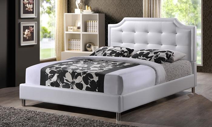 Modern upholstered tufted platform beds groupon for Beds groupon