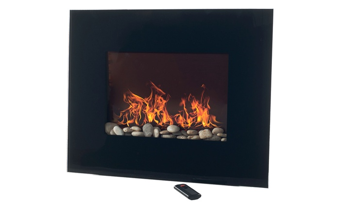 northwest black glass panel electric fireplace with wall