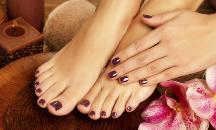 Gel Manicure or One or Two Regular Mani-Pedis with Sea Salt and Hot Towel at QQ Nails (Up to 48% Off)