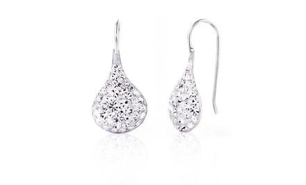 Sterling Silver and Swarovski Elements Teardrop Earrings