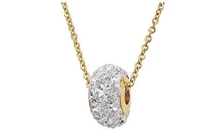 Stainless Steel Crystal Round Pendant Necklace