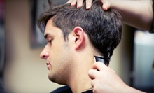 One, Three, or Five Men's Haircuts with Drinks or a Men's Haircut Package with a Drink at Hollywood Edge (Up to 55% Off)
