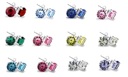Set of 12 Stud Earrings with Swarovski Elements