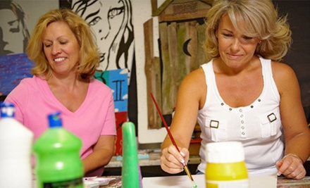 Painting Class for Two, Four, or Six Adults, or Afterschool Kids' Camp at Bubbles and Brushes Art Studio (Up to 57% Off)