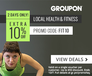 10/6-10/7 10% off one Local Health & Fitness Deal with code FIT10