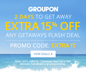 Affiliate Exclusive: Extra 15% off any Getaway Flash Deal -  Promo Code: Extra 15