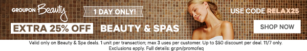 25% off Beauty and Spas Promo Code