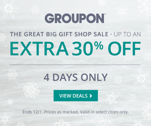 Groupon 30% off gift shop sale