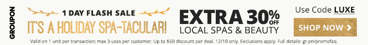Extra 30% off Spas & Beauty