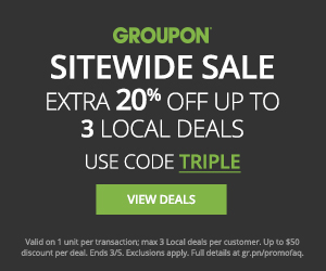 Offer: 20% off 3 Local deals, 10% off 3 Goods deals, 10% 3 Getaways Flash Deals - 3/4 - 3/5 Code: TRIPLE