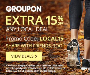 10/20-10/21: 15% OFF One Local Deal Code:LOCAL15