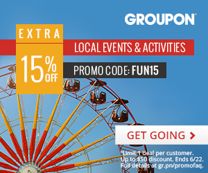 6/20-6/22: 15% off 1 Local Events & Activities Deal with code FUN15
