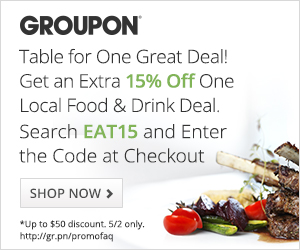 5/2 12AM EDT-11:59PM PDT: 15% off 1 Local Food & Drink Groupon with code EAT15