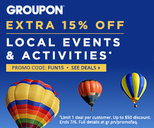 7/4-7/6: 15% off 1 Local Events & Activities Deal with code FUN15