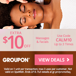 Offer: $10 off up to 3 Local Massage or Facial deals Timing: 2/12-2/13 Code: CALM10