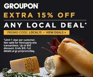 9/8-9/9: Extra 15% off 1 Local Deal with Code LOCAL15