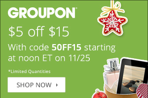 $5 off orders $15 or more at Groupon.com