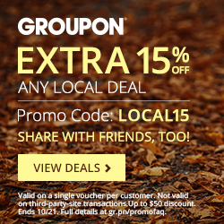 10/20-10/21: 15% Off One Local Deal Code: LOCAL15