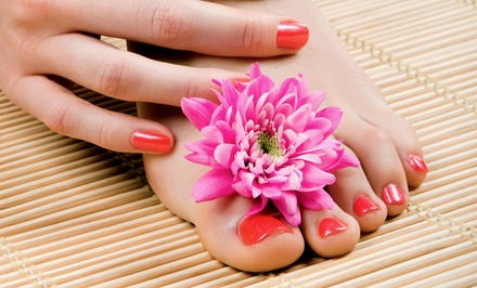 Shellac Manicure with Spa Pedicure, or Three Shellac Manicures at Deja Vu Salon- Stormy Germain (Up to 62% Off)